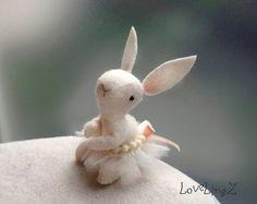 Ballet bunny in tutu, unique felt mini artist plushie by LoveLingZ