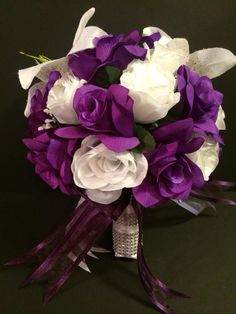 Purple Wedding Bouquet made affordable for your wedding flowers.  Easily for quote bridalsilkflowers4u@yahoo.com