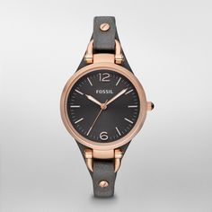FOSSIL® Watch Styles Leather Watches:Watch Styles Georgia Leather Watch – Smoke and Rose ES3077