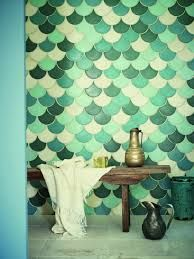 Fish scale tiles are a great way to update your kitchen or bathroom. Replace your subway tile with fish scale tile to stay on trend. For more design ideas and inspiration, go to Domino. Bad Inspiration, Bathroom Inspiration, Interior Inspiration, Fish Scale Tile, Bohemian Bathroom, Wall And Floor Tiles, Wall Tiles, Room Tiles, Kitchen Tiles