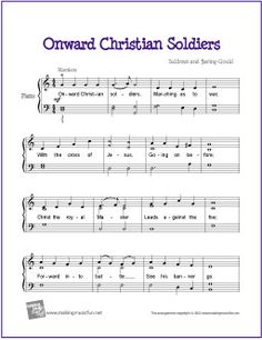 Onward Christian Soldiers | Free Sheet Music for Piano - http://makingmusicfun.net/htm/f_printit_free_printable_sheet_music/onward-christian-soldiers-piano.htm