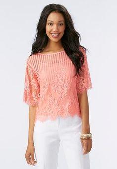 Cato Fashions Button Back Lace Top #CatoFashions