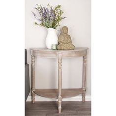 This accent table features a new traditional design with its classic half round table top and bottom shelf. It is supported by sturdy turned wood legs perfect for classic home settings. This rustic piece has a whitewash taupe finish that is sure to b Half Moon Console Table, Wooden Console Table, Console Tables, Accent Furniture, Living Room Furniture, Painted Furniture, Grey Furniture, Furniture Outlet, Upcycled Furniture
