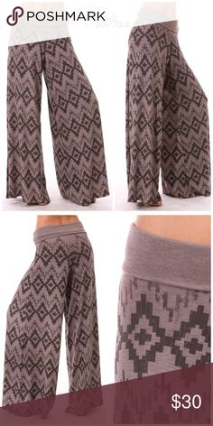 """✳️SALE✳️Boho Fold Over Wide Leg Palazzo Pants Soft and stretchy fold over wide leg palazzo pants. Features an abstract boho design. Can be worn high waisted or fold over waistband. Stretchy material. Made of spandex/ polyester blend. Made in USA 🇺🇸  Measurements laying flat Small  Waist 13""""  to 15"""" Inseam 33"""" Leg opening 12""""  Medium  Waist 14""""  to 16"""" Inseam 33"""" Leg opening 13""""  Large  Waist 15""""  to 17"""" Inseam 33"""" Leg opening 13.5""""  ✔️ Bundle Discounts  ✔️ Reasonable Offers through offer…"""