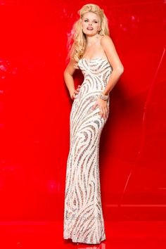 Scala 48464 Long Beaded Pattern Gown - French Novelty