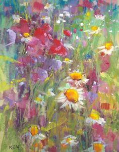 Fleurs sauvages avec des pois de senteur par KarenMargulisFineArt, $150.00