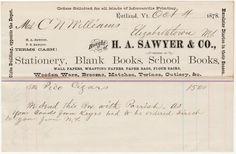 H.A. Sawyer & Co. 1878 Invoice Jobbers of Books, Paper, Brooms, Etc. Rutland, Vt