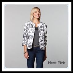Abstract Print Jacket Crinkle texture with a satiny luster in this open front jacket. It's collarless with a one-hook closure. Abstract print gray on white with 3/4 length sleeves.  Dress it up for a classic look or wear with jeans for polished casual. Fully lined, polyester/rayon, dry clean.  Trades  Holds Coldwater Creek Jackets & Coats