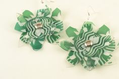 Upcycled STARBUCKS Cup Earrings Plastic FLOWERS Green by ChezChani, $6.00