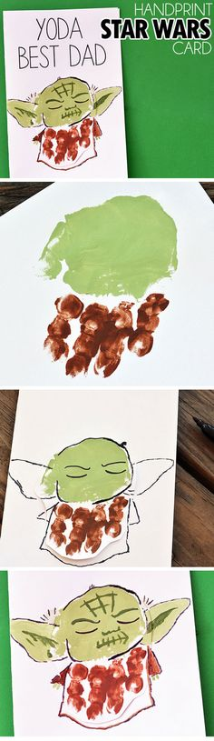 Handprint Yoda Father's Day Card | DIY Fathers Day Crafts for Kids to Make