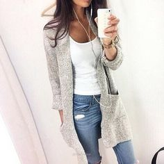2016 Autumn Winter Fashion Women Long Sleeve loose knitting cardigan cardigan sweater Womens Knitted Female Cardigan pull femme - Silver / S - Sweaters, www.looklovelust.com - 2
