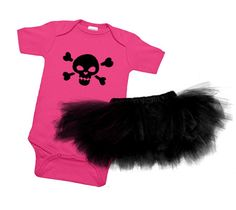Funky Skull Pink One Piece & Black Tutu Gift Set...this will most likely be her outfits on daddy/daughter days.
