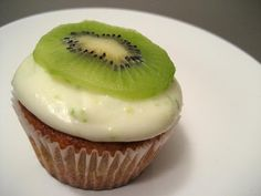 Kiwi Cupcakes with Lime Frosting