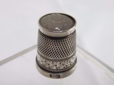 VINTAGE CONTINENTAL SILVER CLEAR GLASS STONE TOPPED THIMBLE