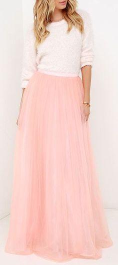 Scoop of Sorbet Blush Tulle Maxi Skirt