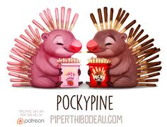 Animal Drawings Daily Paint Pockypine by Piper Thibodeau - Cute Food Drawings, Cute Animal Drawings, Kawaii Drawings, Animal Puns, Animal Food, Dibujos Cute, Toy Art, Cute Creatures, Cute Illustration