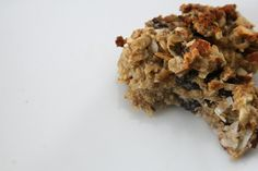 oatmeal banana cookies, no sugar or flour. NOTES: good, needs more sweetness. Add 1/4 c. honey