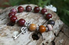 Mookaite Jasper stone beaded Bracelet Moon Store, Yoga Bracelet, Jasper Stone, Crystal Bracelets, Bracelet Designs, Stone Beads, Pagan, Photo And Video, Crystals