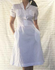 Vintage 40s White Nurse Uniform Dress M Puff by PopFizzVintage