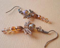 Dragonfly Earringsl Amber Earrings Gold by RhondasTreasures