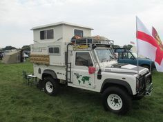 A neat pop up roof on a Landrover 110 4x4 Camper by  http://www.roverlandcampers.co.uk/