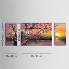 Pintada a mano Floral/BotánicoClásico / Tradicional Tres Paneles Lienzos Pintura al óleo pintada a colgar For Decoración hogareña 2017 - $81.99