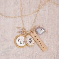 Personalized Gold Necklace, jewelry, unique, gold, name necklace, hand stamped jewelry, gift idea
