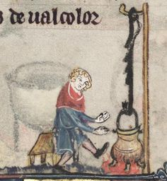 """A Cook- From The Romance of Alexander, 1338-1344  (TAG: LINK=>BLOG PAGE TITLED """"MEDIEVAL TRADES AND CRAFTS"""" W/MANY MORE IMAGES; PUBLIC DOMAIN)"""