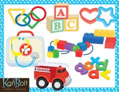 46 different toys and manipulatives. See preview file for a look at everything you get with this set. If you need any images separate from their group just let me know.WHAT YOU GET IN THIS SET action doll   action man  alphabet cookie cutters  alphabet blocks  baby doll large, medium and small building blocks  bumpy blocks  car  cash register costumes  counter blocks  dinosaur  doctor's kit  dough tools  fire truck foam blocks  foam shapes  foam letters  foam waffle blocks  game pawns $7.00