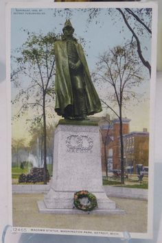 Postcard, depicts Alexander Macomb Monument on the median of Washington Boulevard facing north from Michigan Avenue. Fountain and St. Aloysius Catholic Church in background, Collector Cards, Vintage Postcards, Statue Of Liberty, Detroit, Fountain, Catholic, Michigan, Washington, Greeting Cards