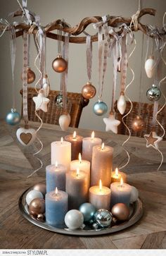 Christmas decorating ideas...love the colors!  Wintertime holiday ornaments and candles. ❄