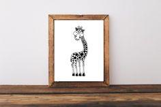 Monochrome animal prints nursery art whimsical illustrations 10x8in Giraffe #StressieCat