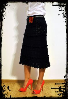 Made to Measure Clothes – Crochet Cocktail Midi Skirt – a unique product by uki-boots on DaWanda Lace Skirt, Midi Skirt, High Waisted Skirt, Cocktails, Clothes For Women, Crochet, Boots, Unique, Skirts