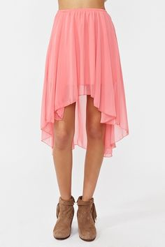 high low pink skirt