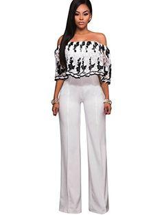 cc79b9d786bf Clocolor Women s Off Shoulder Floral Printed Long Pants Jumpsuits Sexy  Loose Long Wide Leg Jumpsuits Rompers