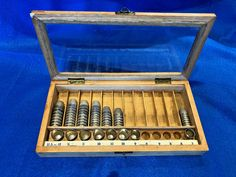 Vintage Thimble General Store Counter Box Display Case with 58 Metal Thimbles  #Unknown