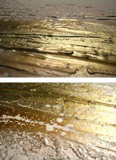 Mooie resultaten met metallic goud / koper / brons, zilver? De kunstenaar is mij niet bekend. Wie dit wel weet? graag reactie ...