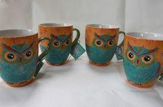 """DUTCH WAX """"OWL"""" COFFEE/TEA MUGS - ORANGE/TURQOISE/GREEN/RED - S/4"""
