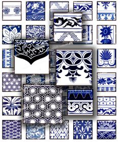 Asian Blue  Oriental Floral Chinese motifs flowers 1 in