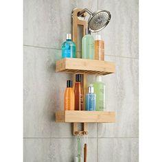 InterDesign Formbu Bathroom Shower Caddy for Shampoo, Conditioner, Soap - Natural Bamboo Hanging Shower Caddy, Shower Storage, Shower Shelves, Bathroom Storage, Storage Hooks, Shower Caddies, Bamboo Bathroom, Bathroom Wall, Cortina Box