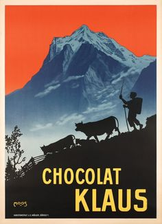 1910 Chocolat Klaus , Swiss vintage advert poster