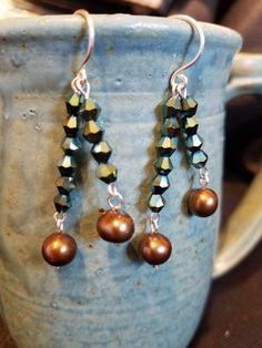 Bronze Freshwater Pearl & Green Crystal Dangle Earrings by DivineDragonDesigns on Etsy