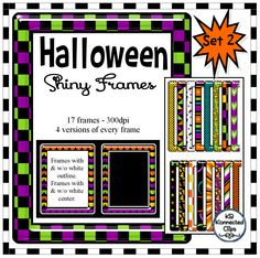 "Halloween Shiny Frames Set 2- $ The frames have a ""shiny"" look and really stand out in a crowd.  There are 17 colorful frame options and each one comes in 4 variations.  -without white outlines (great on light papers) -with white outlines (great on darker papers) -without white centers (add a black or chalkboard paper in center) https://www.teacherspayteachers.com/Product/Halloween-Shiny-Frames-Set-2-2102776"