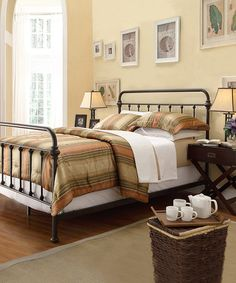 Black Mariana Bed Frame - regularly $352, Zulily price $239.99 1/06/2014 - Would look great in a Steampunk bedroom. I can see it with brown linens with black & gray images or with jewel tones.