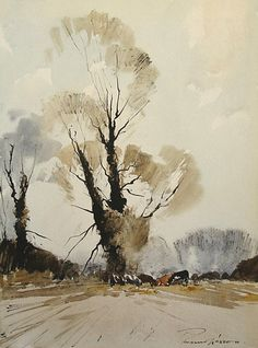 Feeding Time Wylye Valley by Edward Wesson watercolor Watercolor Painting Techniques, Watercolor Landscape Paintings, Watercolor Artists, Abstract Landscape, Watercolor Fox, Watercolor Sketchbook, Watercolor Trees, Cool Landscapes, Environmental Art