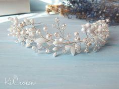 Bridal Crown, Bridal Tiara, Head Accessories, Wedding Accessories, Hair Flowers, Crystal Crown, Pearl Headband, Headpieces, Hair Jewelry