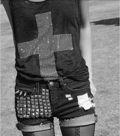 Cross shirt and studded shorts