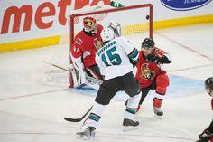 San Jose Sharks forward James Sheppard beats Ottawa Senators goaltender Craig Anderson in the third period for his first goal of the season (Oct. 27, 2013).