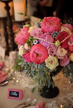 Vintage Arrangement with a touch of pearls and peonies. Love =)