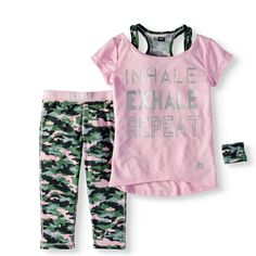 4 Graphic Mint RBX Girls Little Active Top and Short Set